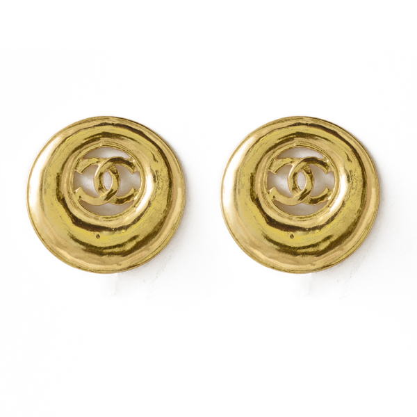 """Chanel 1 1/4"""" gilt logo earrings within a graduating hoop, Spring 1993"""