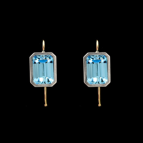 Emerald Cut Aquamarine Vintage Paste Earrings