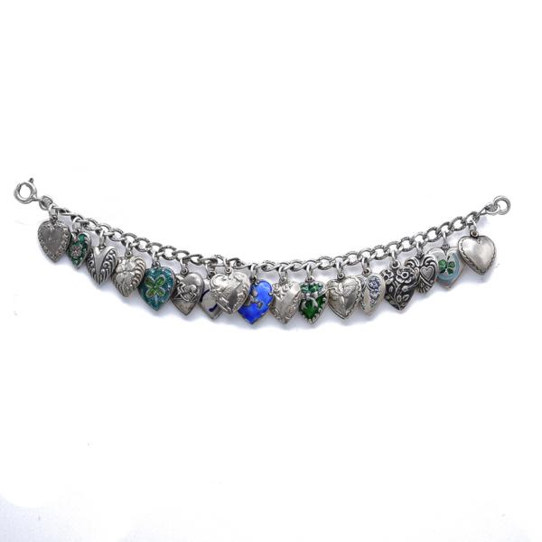 Victorian Sterling Heart Charm Bracelet