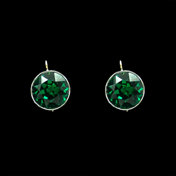 Roy Rover Large Emerald Paste Dangle Earrings