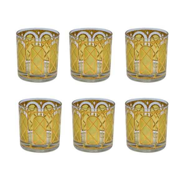 Culver Yellow & Gold Trellis Rocks Glasses