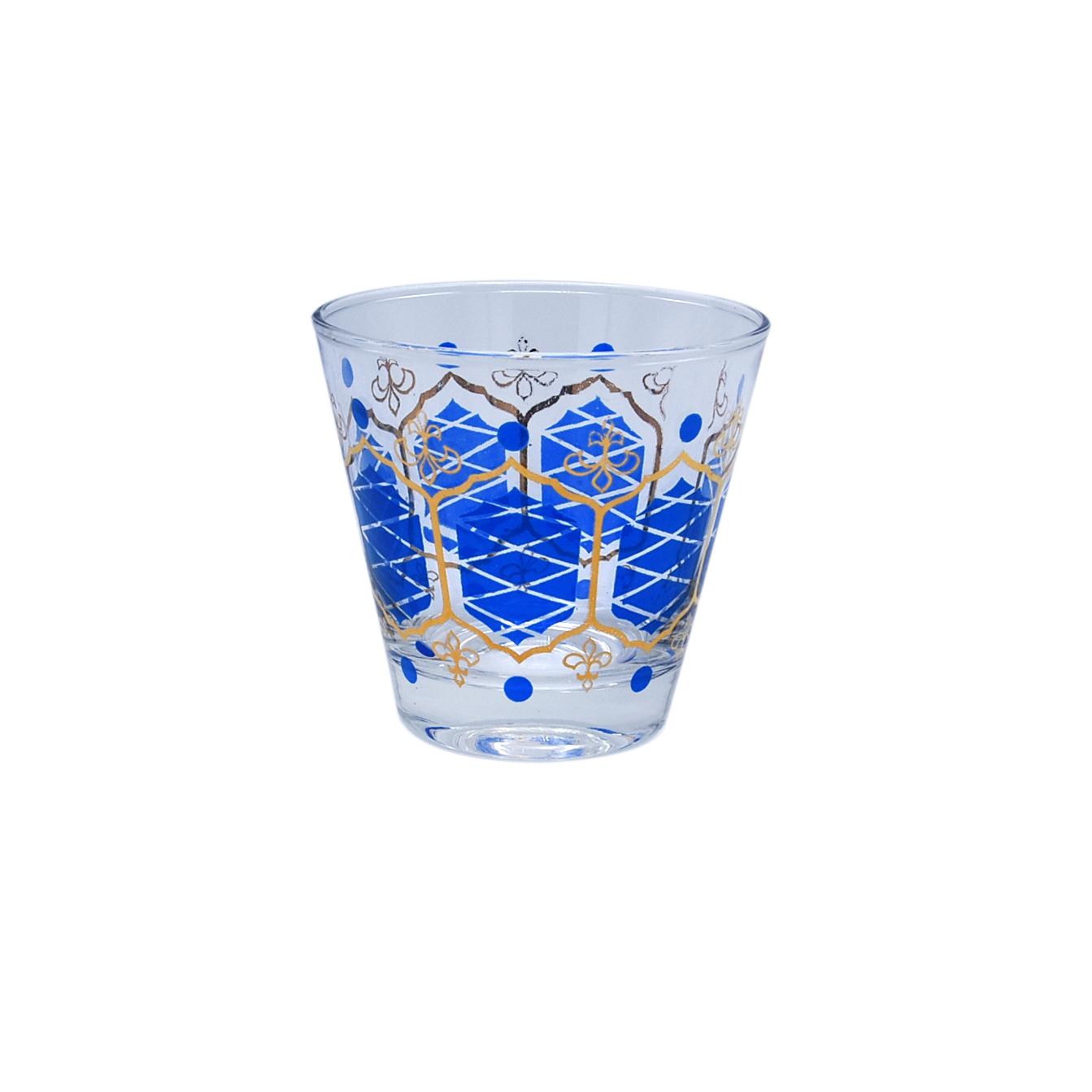 Nordic Libbey Blue & Gold Fleur de Lys Double Old Fashioned Glasses