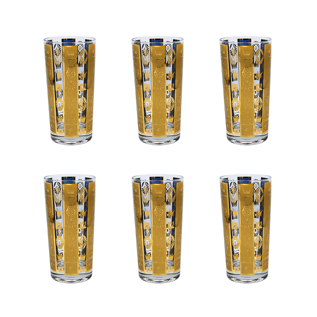 """Georges Briard Blue & Gold """"Coronet"""" Highball Glasses, Set of Six (6)"""