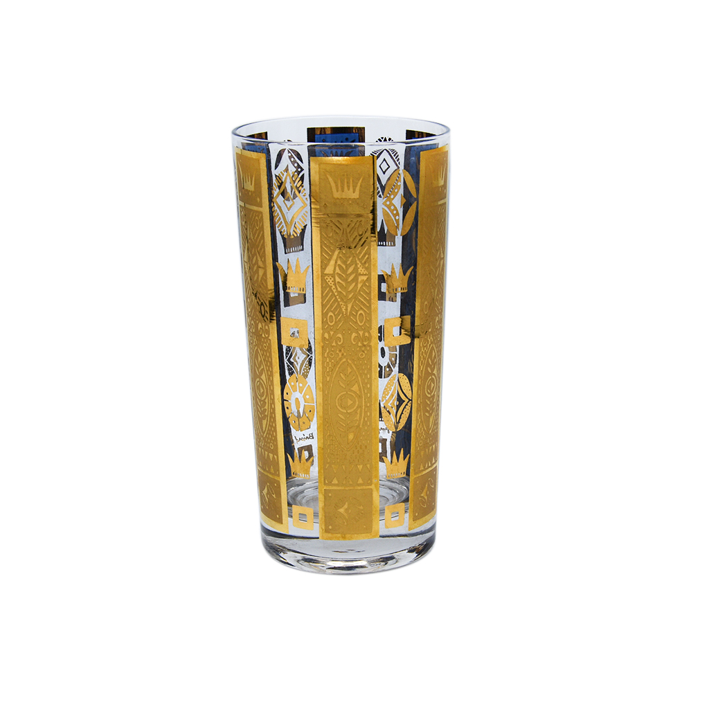 """Georges Briard Blue & Gold """"Coronet"""" Highball Glass"""