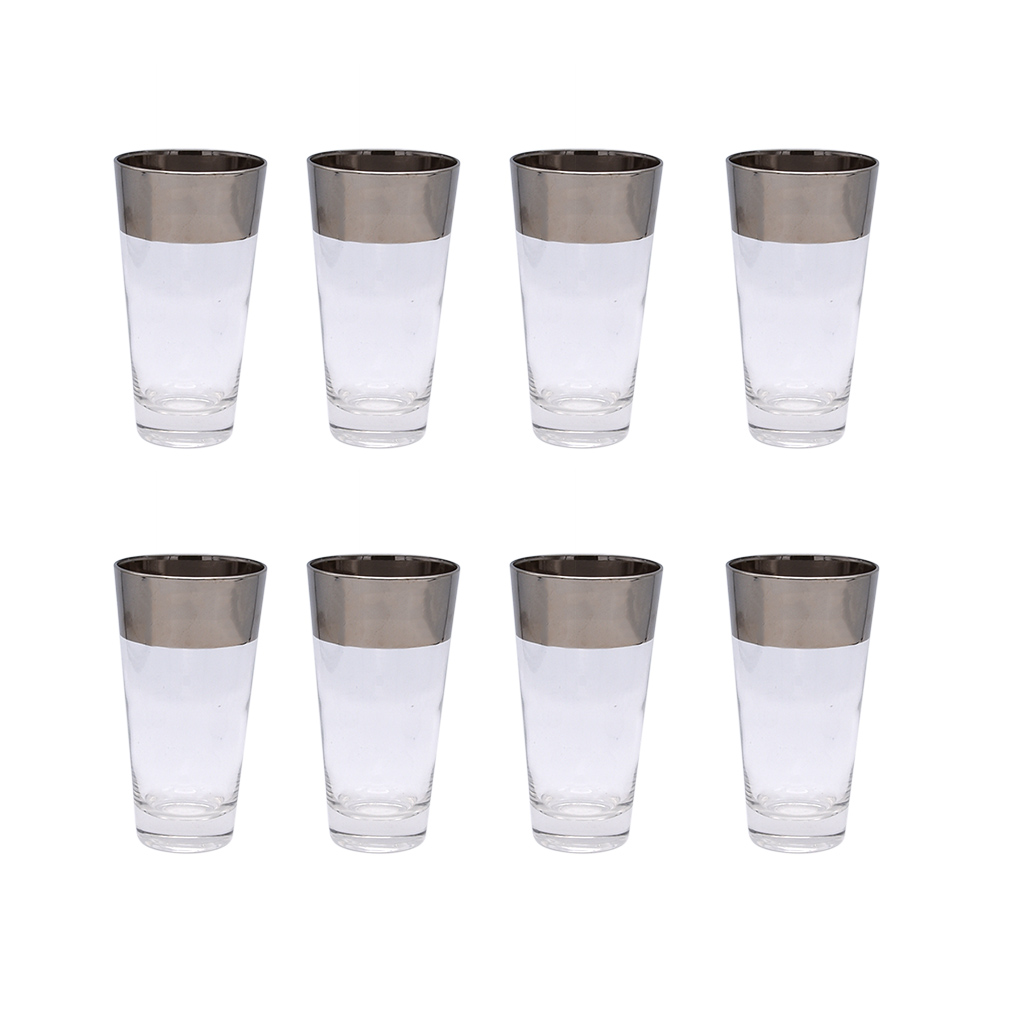 Set of 8 (eight) Dorothy Thorpe thick silver stripe highball glasses