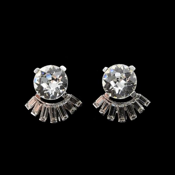 Trifari Headlight Paste with Baguette Arch Earrings, 1950