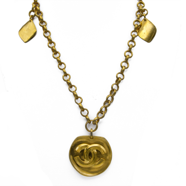 "Chanel 31"" Gilt Necklace with Flat Logo Pendant & Diamond Shape Charms, Spring 1996"