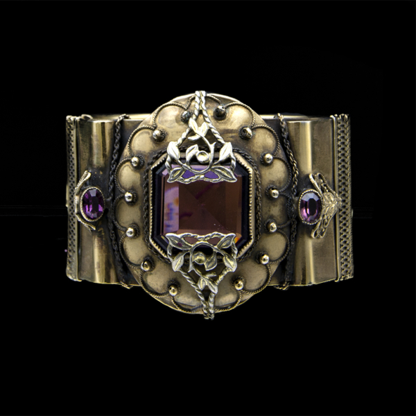 Victorian Style Bracelet with Amethyst Paste Center, 1930
