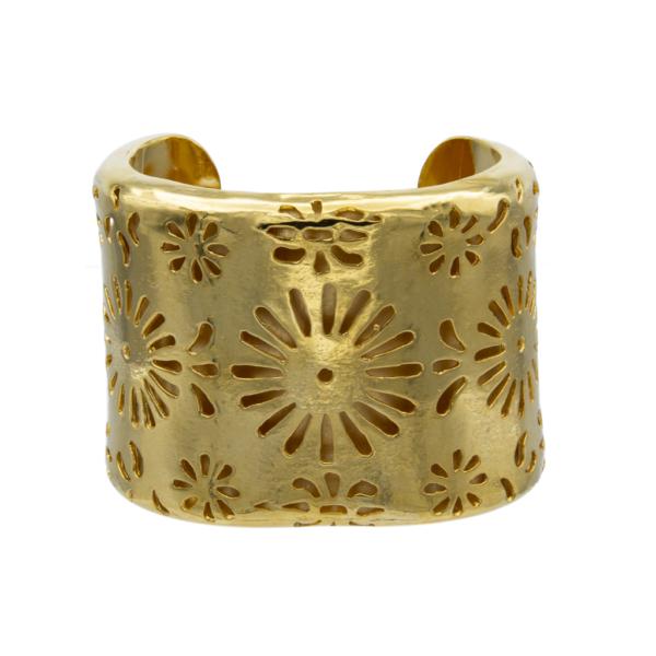 "Chanel 2 1/8"" Gilt Flower Cutout Cuff Bracelet, 1980"