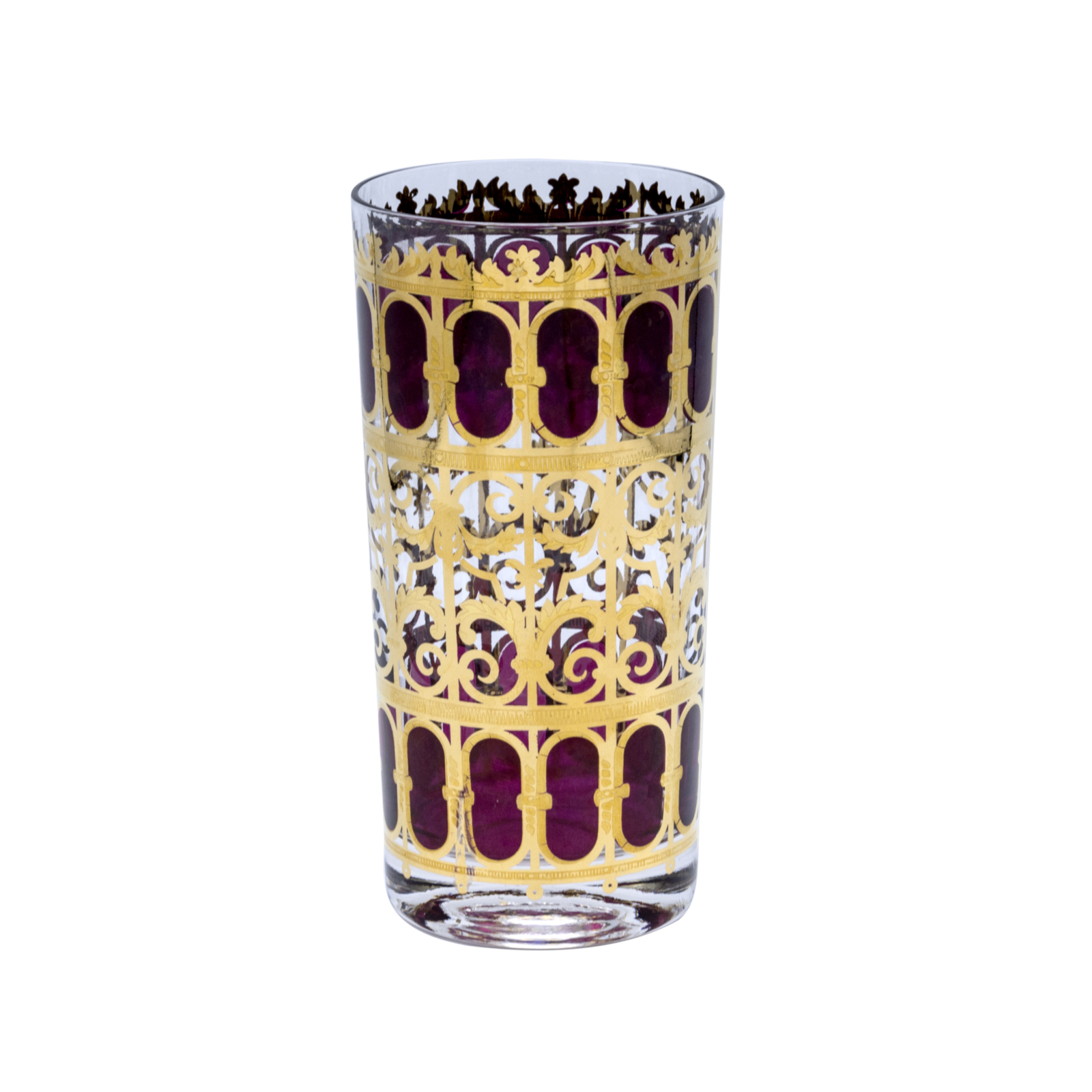 Culver 22k Gold Cranberry Scroll Highball Glass