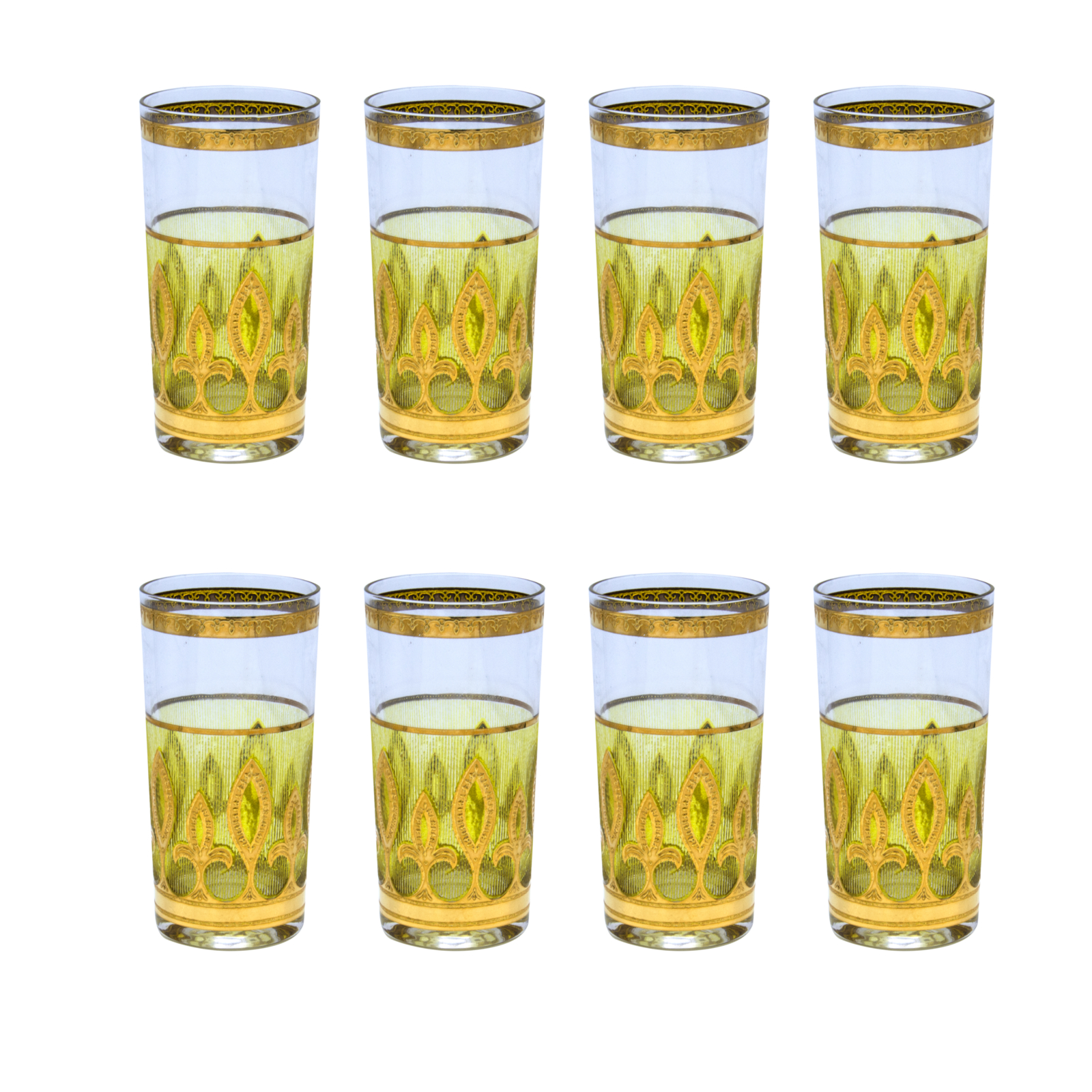 Culver Green & Gold Fleur de Lis Highball Glasses, Set of Eight (8)