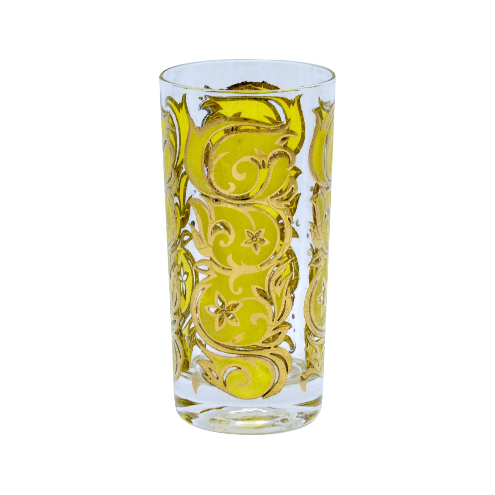 Mid Century Yellow & 22k Gold Filigree Pattern Highball Glass