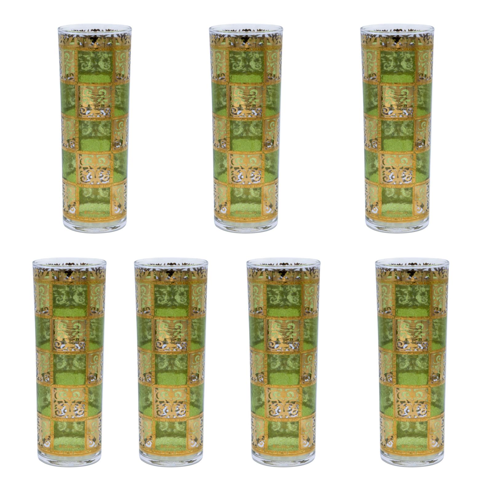 Culver GreenGold Prado Double Collins Glasses, Set of Seven (7)