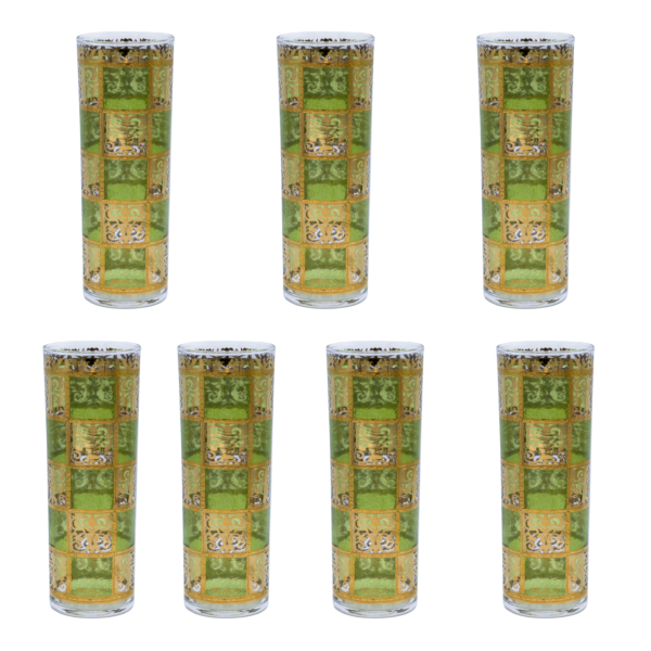 Culver GreenGold Prado Double Collins Glasses, Set of Seven (7)