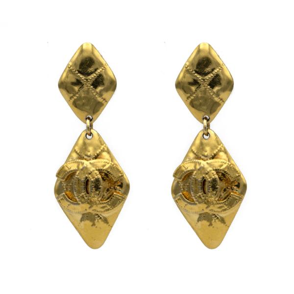 """Chanel 3 1/8"""" Gilt Dangling Diamond Earrings, Spring 1994"""