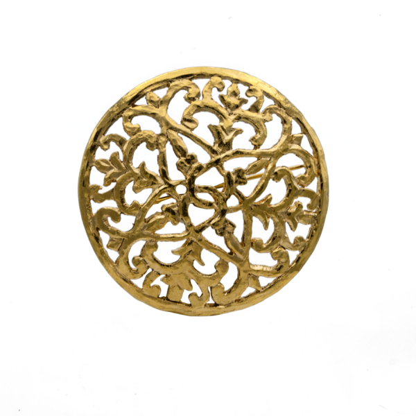 "Chanel 2 1/8"" Gilt Openwork Domed Disk Brooch, 1989"