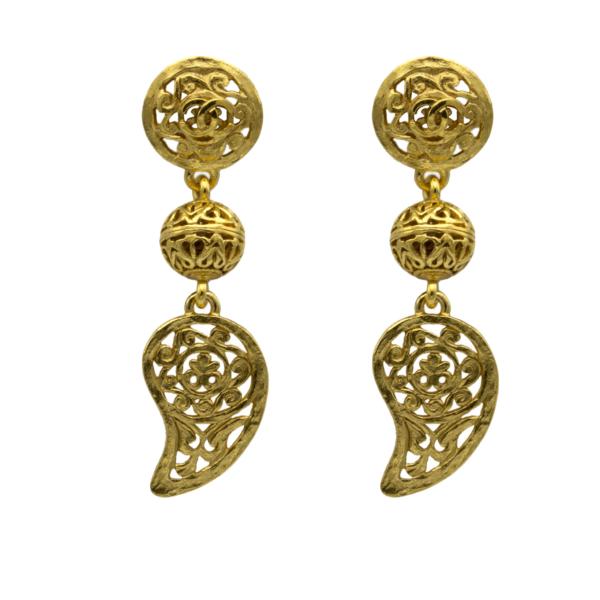 Chanel Gilt Openwork Paisley Earrings, Autumn 1995