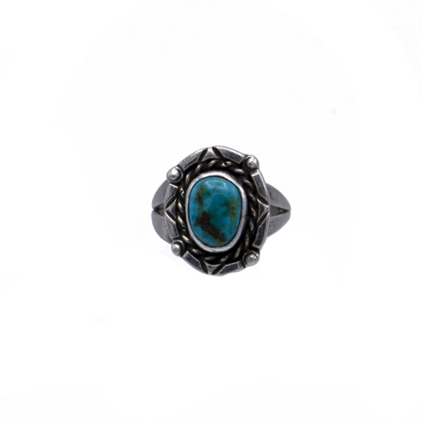 Product Photo for Vintage Native American Sterling & Turquoise Ring with Single Stone