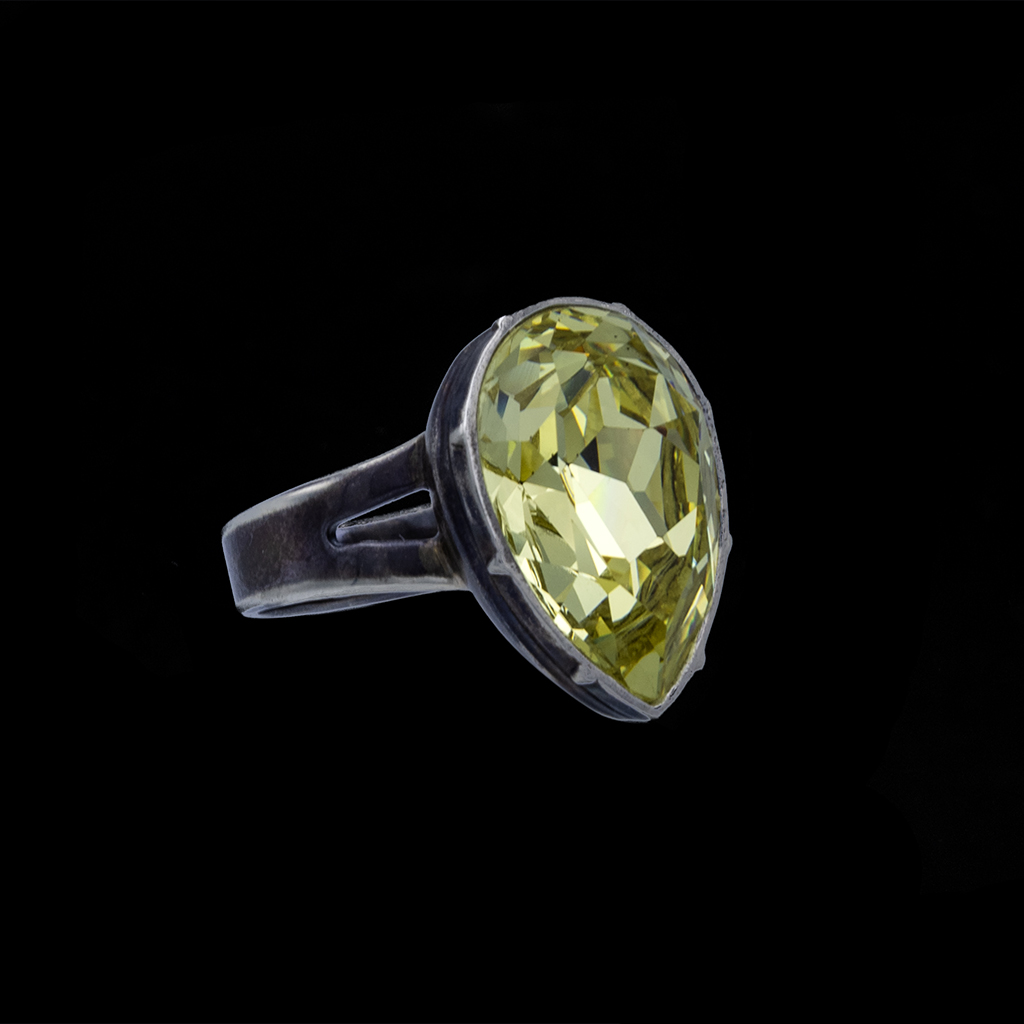 Side Product View photo of Revival Paste Jonquil Pear Shaped & Sterling Ring