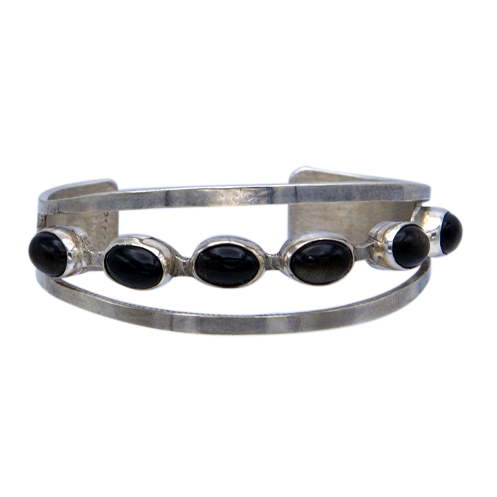 Mexican Sterling & Obsidian Tapered Cuff Bracelet, 1970