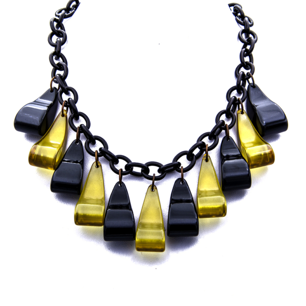 """Product Photo for Bakelite 26"""" Black & Apple Juice Necklace with Comma Shaped Pendants, 1945"""