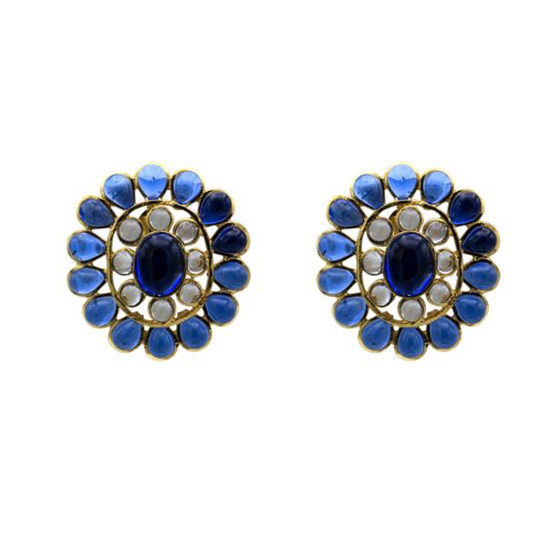 """Chanel 1 5/8"""" Openwork Blue Gripoix Earrings, 1980"""