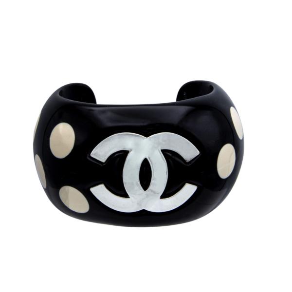 "Chanel 1 1/16"" Black Acrylic Cuff Bracelet with Ivory Dots & Gilt Logo, Spring 1996"