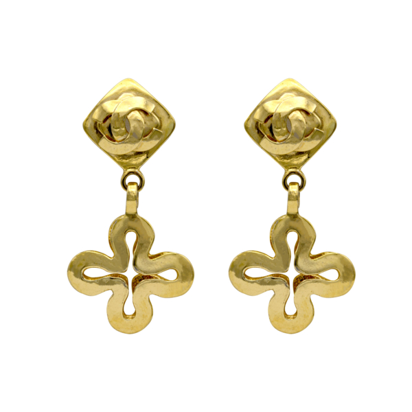 "Chanel 3"" Gilt Quatrefoil Drop Earrings, Spring 1995"