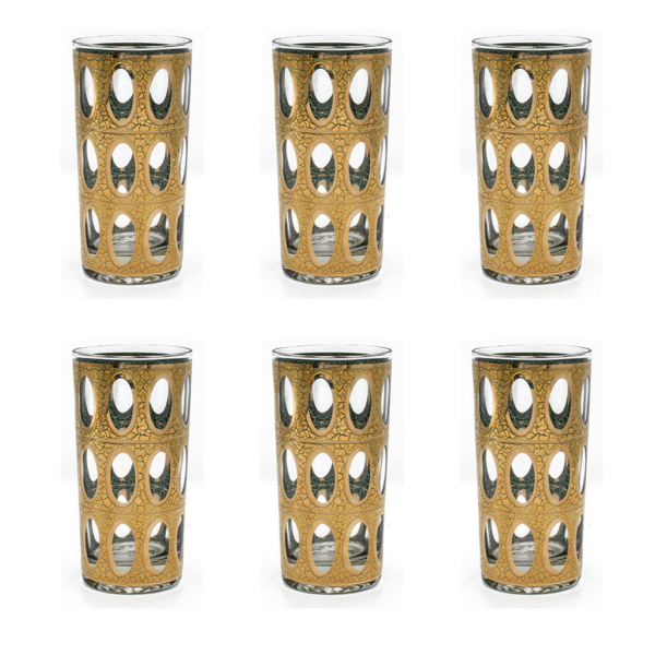 "Culver ""Pisa"" 22k Gold Highball Glasses, Set of Six (6)"