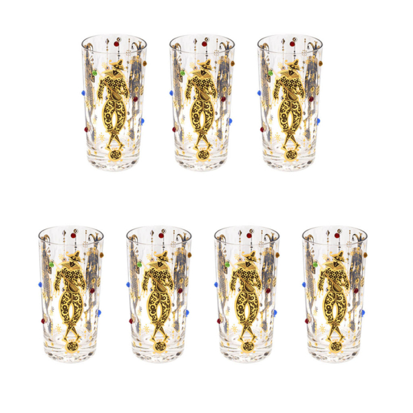 "Culver Jeweled & 22k Gold ""Harlequin"" Jester Highball Glasses, Set of Seven (7)"