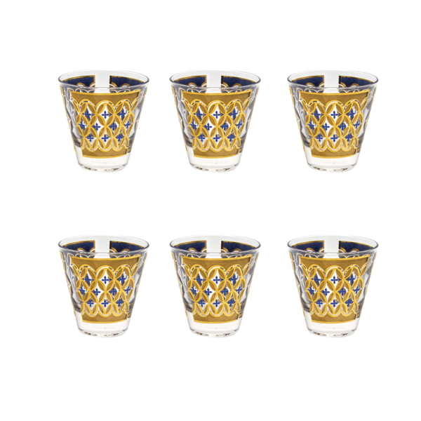 Culver 22k Gold & Blue Small Old Fashioned Glasses, Set of Six (6)