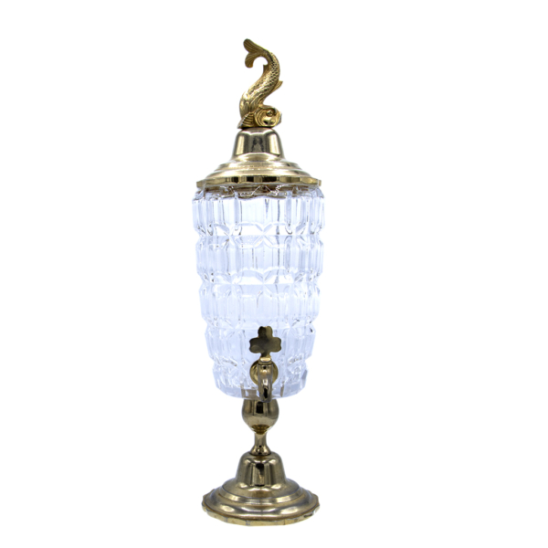 French Cut Glass Absinthe Fountain with Golden Dolphin Lid