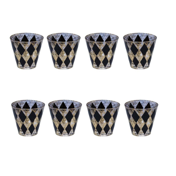 Mid Century Black & Gold Sponge Print Harlequin Diamond Old Fashioned Glasses
