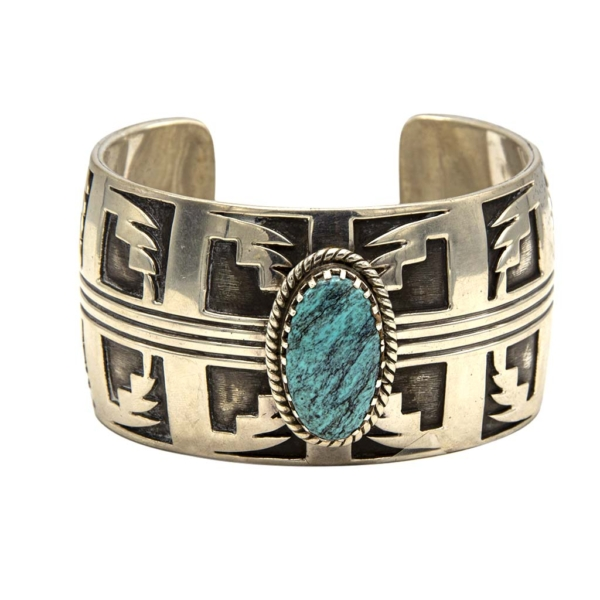 "Vintage Native American Sterling & Turquoise Lightning Bolt Cuff by ""G.S.C. Sterling"", 1980"