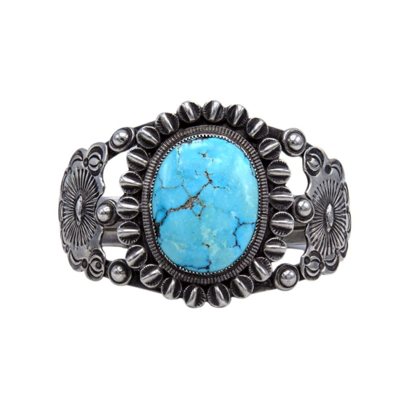 Sterling Triple Band Cuff with Large Oval Turquoise Cabochon, 1970