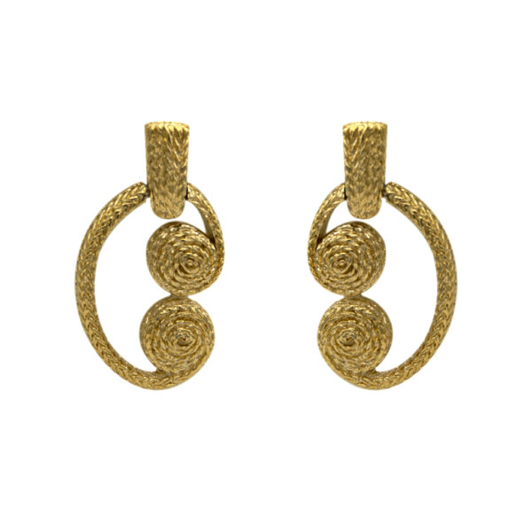 Givenchy Gilt Keystone & Coil Earrings, 1990