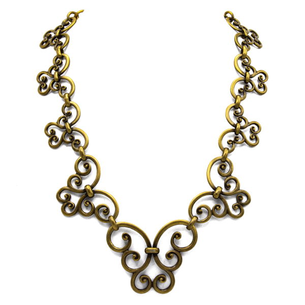 "YSL Limited Edition 19"" Graduated Scrollwork Antiqued Gold Necklace, 1985"