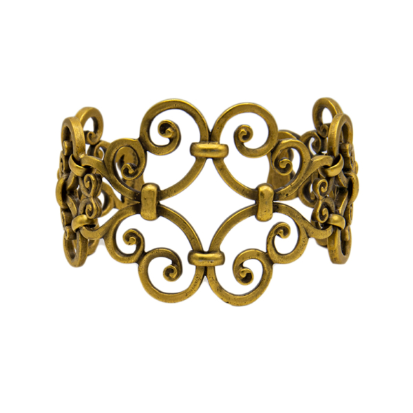YSL Limited Edition Antiqued Gold Scrollwork Cuff, 1985