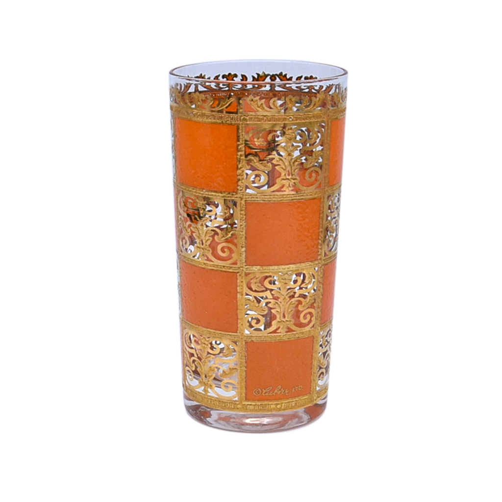 "Culver Orange & 22k Gold ""Prado"" Highball Glass"
