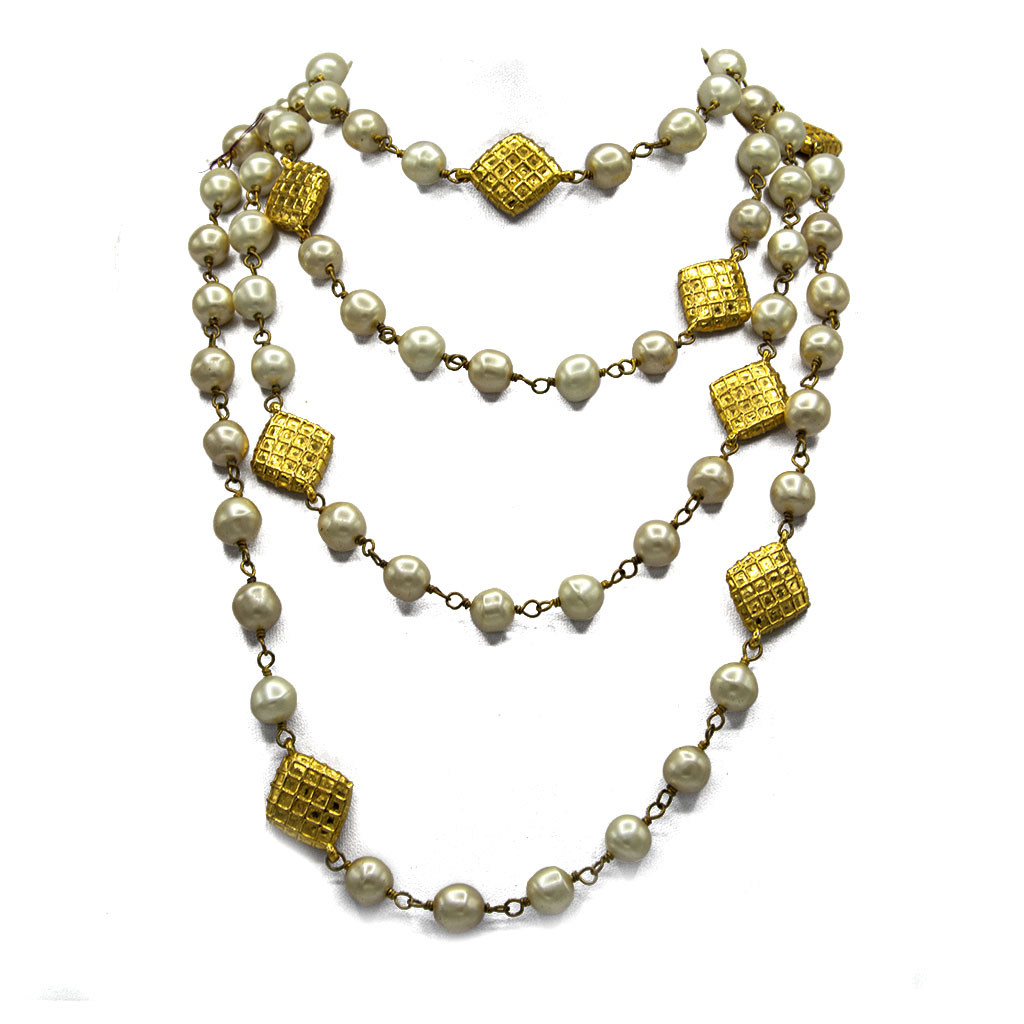 """Chanel 72"""" French Wrapped Pearls Spaced by Quilted Diamond Stations, 1980"""
