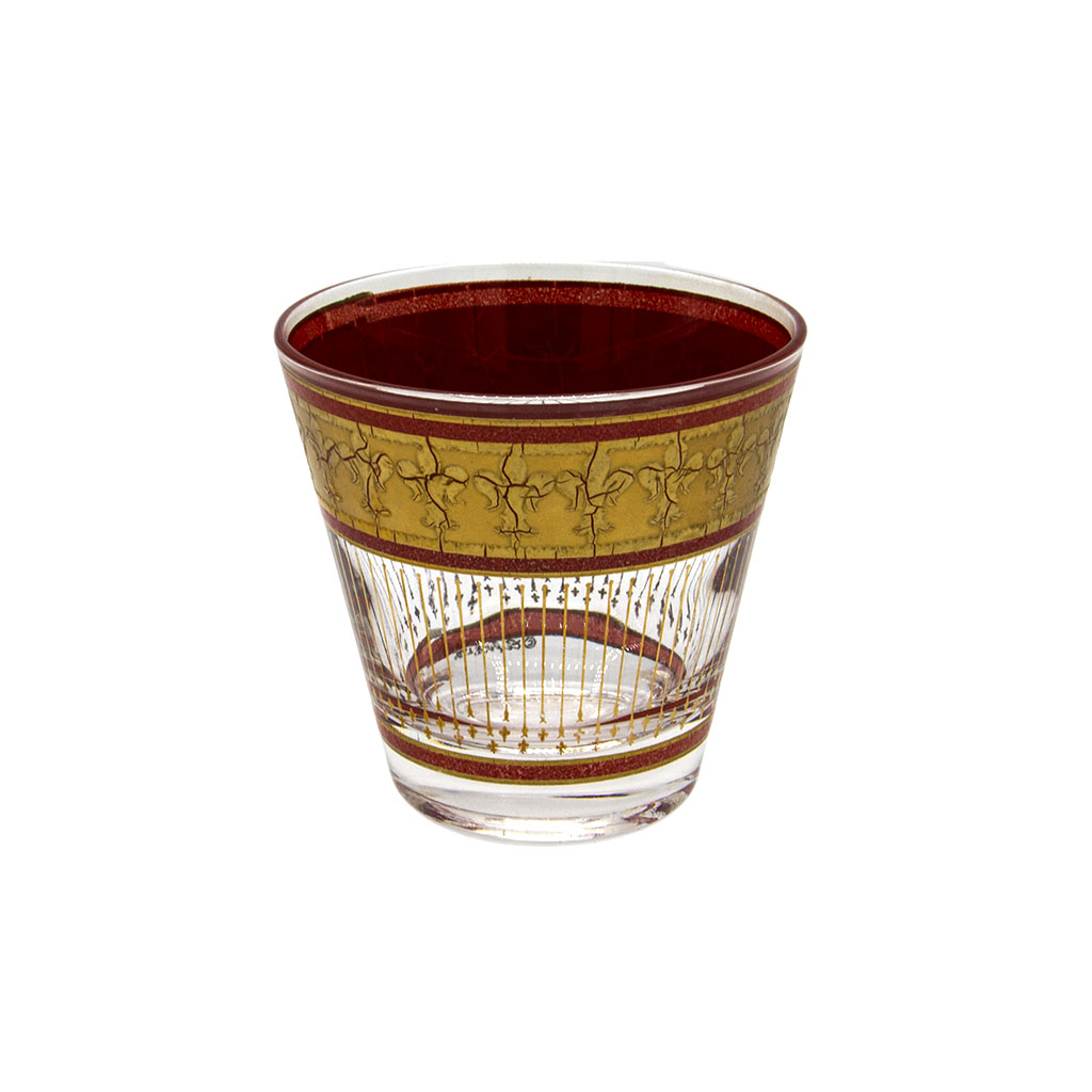 Culver Red & 22k Gold Fleur de Lis Double Old Fashioned Glass