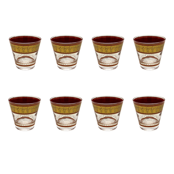 Culver Red & 22k Gold Fleur de Lis Double Old Fashioned Glasses, Set of Eight (8)