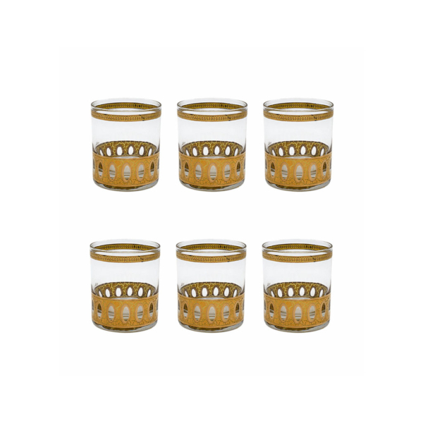 "Culver ""Antigua"" 22k Gold Small Rocks Glasses, Set of Six (6)"
