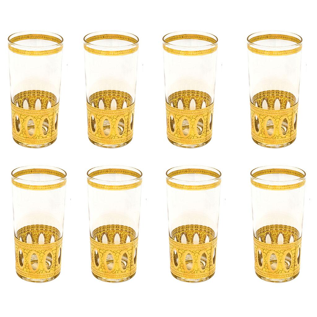"Culver ""Antigua"" 22k Gold Highball Glasses, Set of Eight (8)"