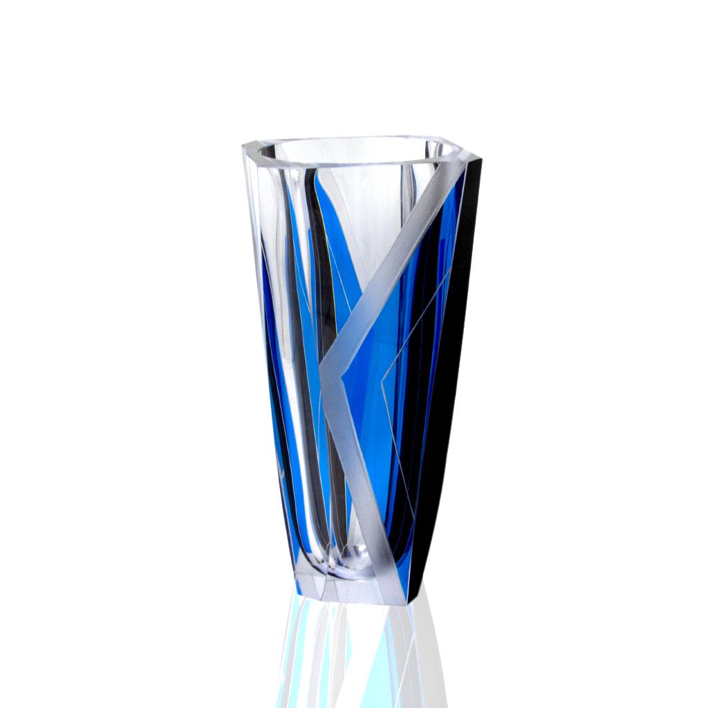 Karl Palda Art Deco Marine Blue & Black Enameled Vase
