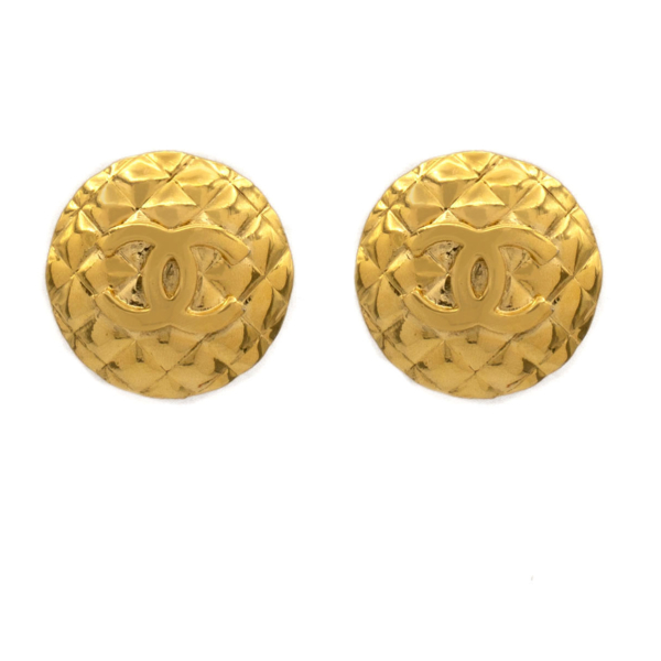 """Chanel 7/16"""" Quilted Dome Logo Earrings, 1970"""