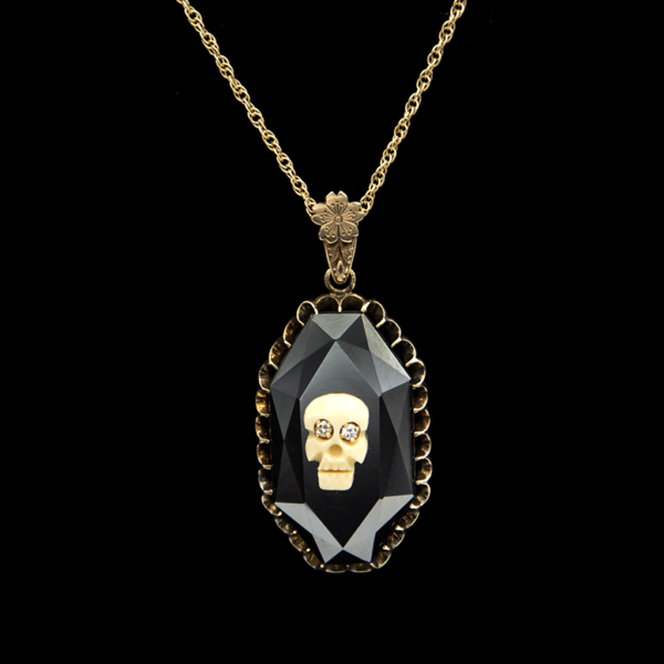 Diamond eye Memento Mori Skull on Faceted Hematite Pendant