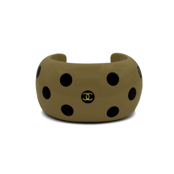 "Chanel 1 3/4"" Beige Acrylic & Black Polka Dot Cuff, Autumn 2000"