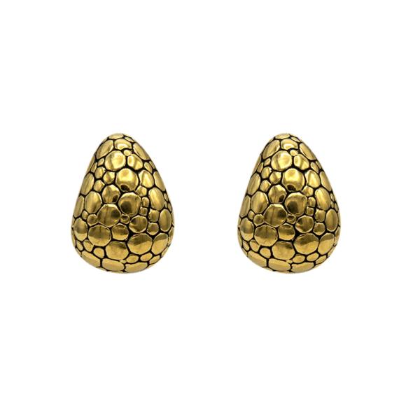 Givenchy Gilt Alligator Skin Earrings, 1990
