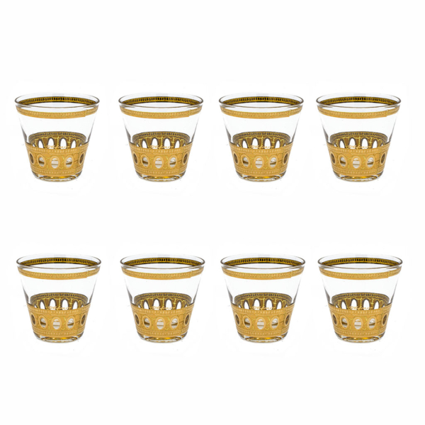 "Culver ""Antigua"" 22k Gold Double Old Fashioned Glasses, Set of Eight (8)"